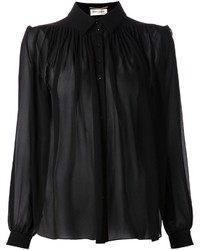 Saint Laurent Ruched Sheer Blouse