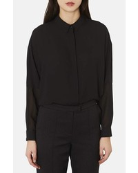 Topshop Sheer Inset Chiffon Shirt Black 10