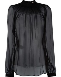 Black Chiffon Long Sleeve Blouse
