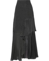 Rosetta Getty Asymmetric Ruffled Fil Coup Chiffon Maxi Skirt Black