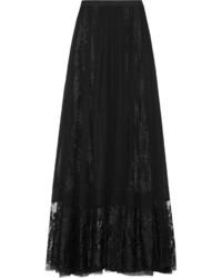 Elie Saab Lace Paneled Silk Chiffon Maxi Skirt Black