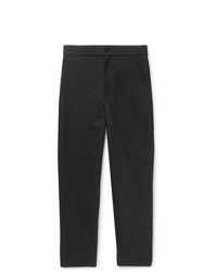 The Row Black La Track Slim Fit Tapered Cotton Trousers