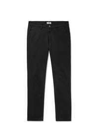Nn07 Black Marco Slim Fit Cotton Blend Twill Chinos
