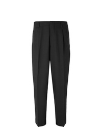 Ami Black Slim Fit Pleated Virgin Wool Twill Trousers