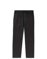 Outerknown Black Tapered Organic Cotton Twill Drawstring Trousers