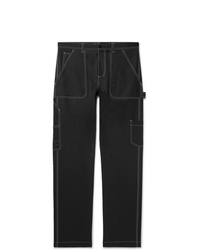 Versace Contrast Stitched Wool Blend Trousers