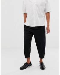 ASOS WHITE Volume Tapered Smart Trousers In Black Wool Mix
