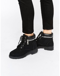 Park Lane Chunky Lace Up Flat Boots