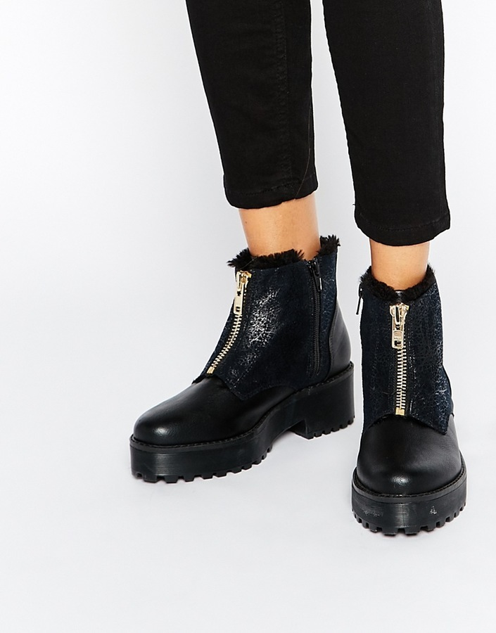 £71, Monki Zip Front Ankle Boots With Faux Fur Detail