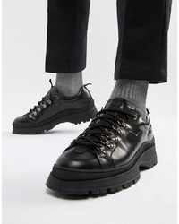 Black Chunky Leather Derby Shoes