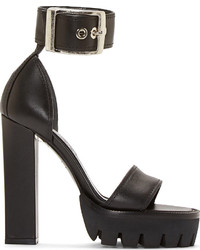 Black Chunky Leather Heeled Sandals