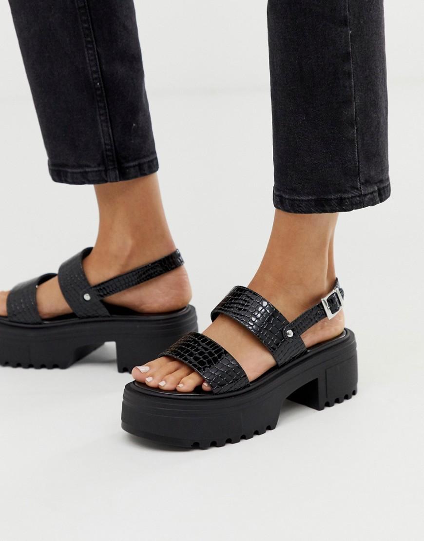 ASOS DESIGN Finalist Chunky Flat Sandals In Black Patent Croc