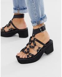ASOS DESIGN Hooper Ring Detail Ed Sandals In Black