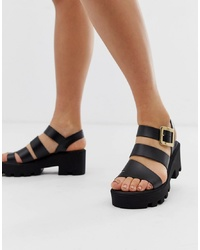 River Island Multi Cleated Sandals In Black