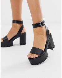 ASOS DESIGN Noticeable Ed Sandals In Black