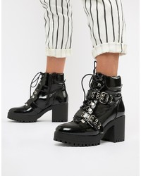 Missguided Patent Ed Boots In Black