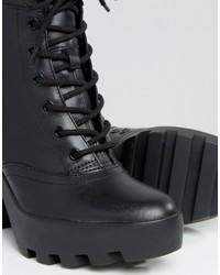 8548266bf110 ... Calvin Klein Jeans Serena Chunky Heeled Leather Lace Up Heeled Ankle  Boots ...