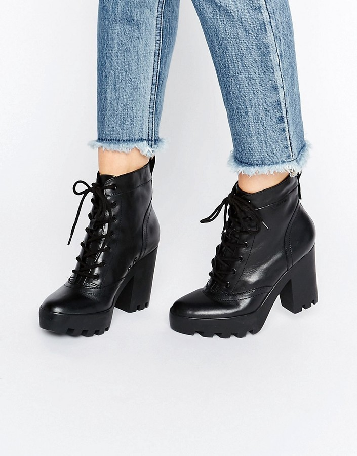 3c236476bc05 ... Calvin Klein Jeans Serena Chunky Heeled Leather Lace Up Heeled Ankle  Boots ...
