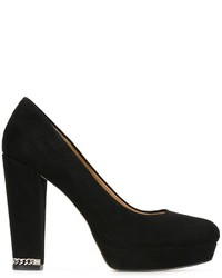 Black Chunky Suede Pumps