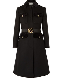 Gucci Belted Velvet Trimmed Wool Blend Felt Coat
