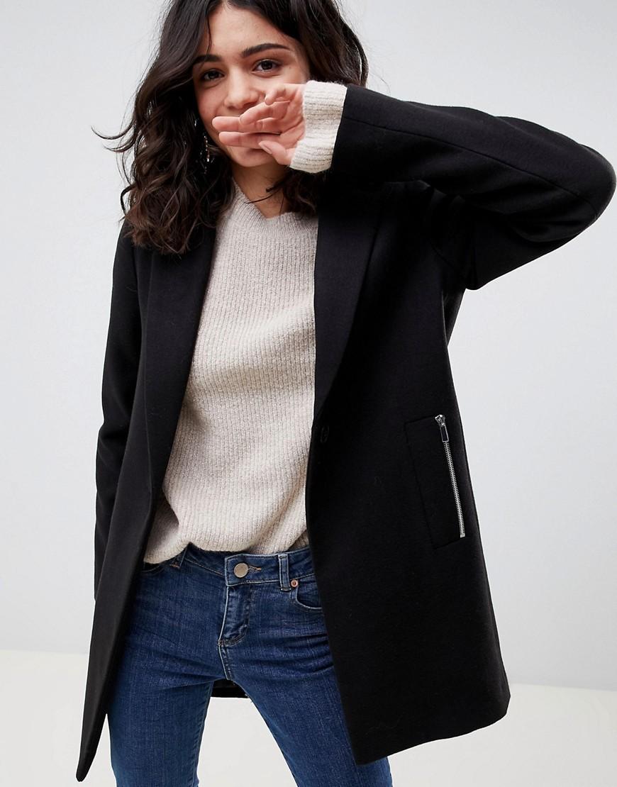 ASOS DESIGN Boyfriend Coat With Zip Pocket