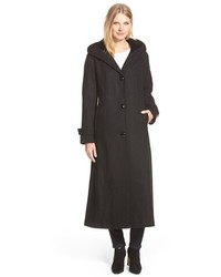 Gallery Hooded Full Length Wool Blend Coat