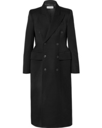 Balenciaga Hourglass Double Breasted Wool Blend Gabardine Coat