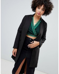Missguided Inverted Collar Formal Coat In Black