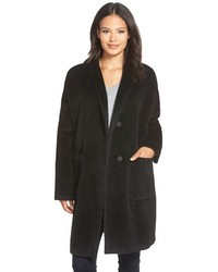 Eileen Fisher Kimono Sleeve Knee Length Wool Blend Coat