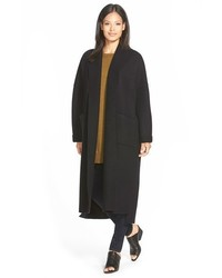 Eileen Fisher Kimono Sleeve Long Boiled Wool Coat