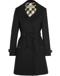 Burberry Leather Trimmed Wool Blend Twill Coat Black