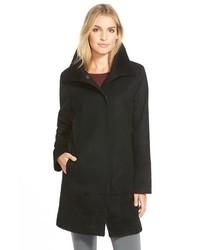 Kristen Blake Mixed Media Wool Blend A Line Coat
