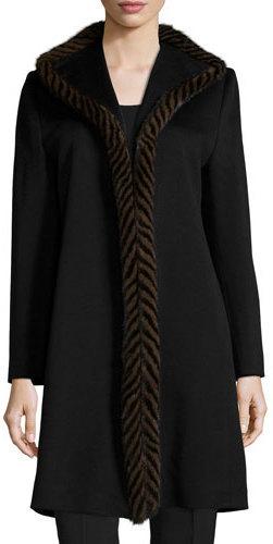 Fleurette Piped Mink Trim Wool Coat