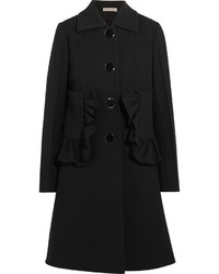 Marni Ruffled Cotton Blend Crepe Coat Black