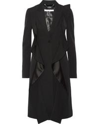 Givenchy Ruffled Satin Paneled Grain De Poudre Wool Coat Black