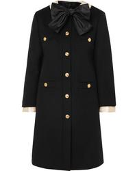 Gucci Silk Satin Trimmed Wool Felt Coat