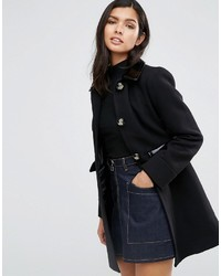 Asos Skater Coat With Patent Contrast Trims