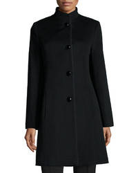 Fleurette Stand Collar Wool Blend Coat W Piping
