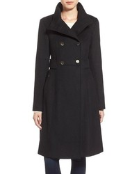 Eliza J Stand Collar Wool Blend Military Coat