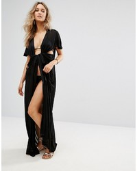 Asos Beach Maxi Cover Up With Wrap Front Detail In Slinky