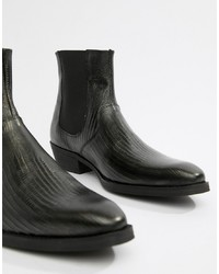 ASOS DESIGN Cuban Heel Western Boots In Black Leather With Snake Texture