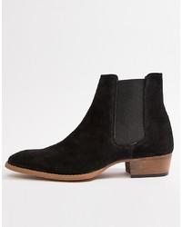 ASOS DESIGN Cuban Heel Western Chelsea Boots In Black Suede