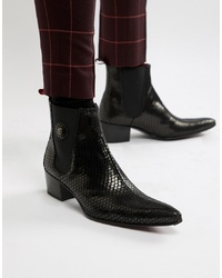 Jeffery West Sylvian Cuban Boots In Black Snake Print