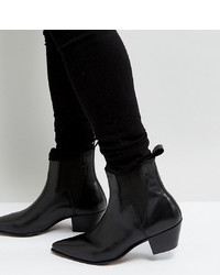 ASOS DESIGN Wide Fit Cuban Heel Western Boots In Black Leather With Lightening Detail
