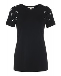 Michael Kors Armhole Lacing Print T Shirt Black