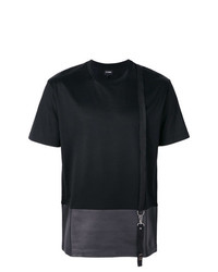 Les Hommes Contrast Cut T Shirt With Suspender