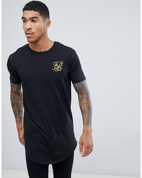 Siksilk Curved Hem T Shirt In Black