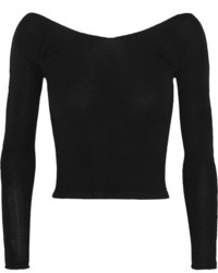 Ballet beautiful cropped off the shoulder stretch knit sweater black medium 1213556