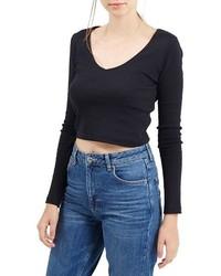 Topshop V Neck Crop Sweater