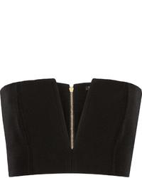 Balmain Cropped Crepe Top Black